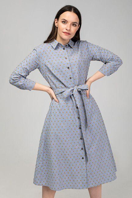 Košeľové šaty DAY BY DAY bledomodré