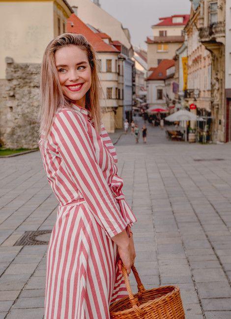 Košeľové šaty STRIPES red