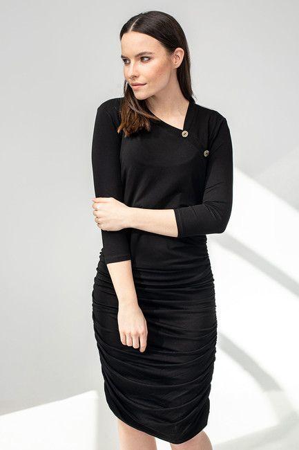 Šaty BUTTON čierne